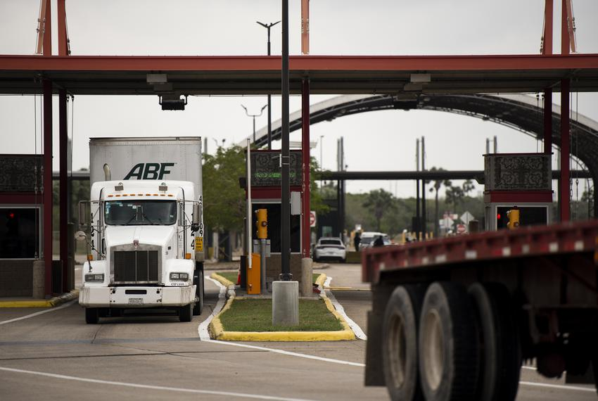 Trucks leave the United States border crossing the Veterans International Bridge in Brownsville on Jan. 10, 2019.