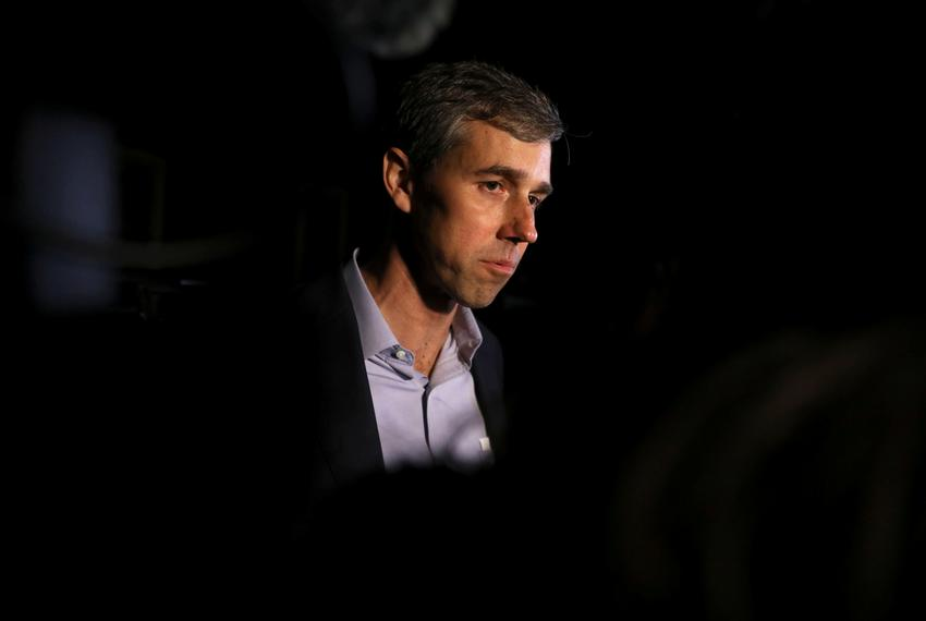 Democratic 2020 presidential candidate Beto O'Rourke speaks to the media following a campaign event in Muscatine, Iowa, U.S.…