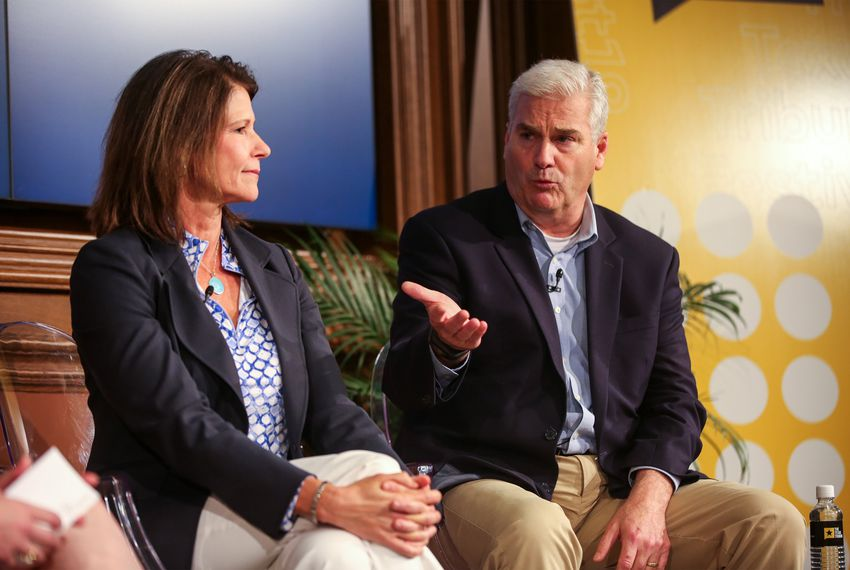 "Texas Tribune D.C. bureau chief Abby Livingston moderates the ""House Hunting"" panel with guests U.S. Reps. Cheri Bustos, D-Illinois, and Tom Emmer, R-Minnesota, at The Texas Tribune Festival on Saturday, Sept. 28, 2019."
