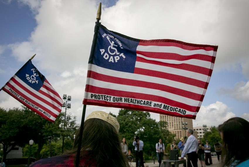 Adapt of Texas, a grassroots disability rights organization, held a rally and march to protest proposed cuts and changes to …
