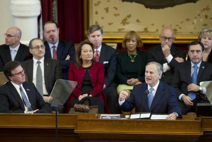 Legislators listen as Gov. Greg Abbott delivers his State of the State speech on Feb. 17, 2015.