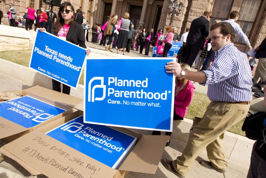 Preparations for Planned Parenthood rally at Texas Capitol on March 7th, 2013