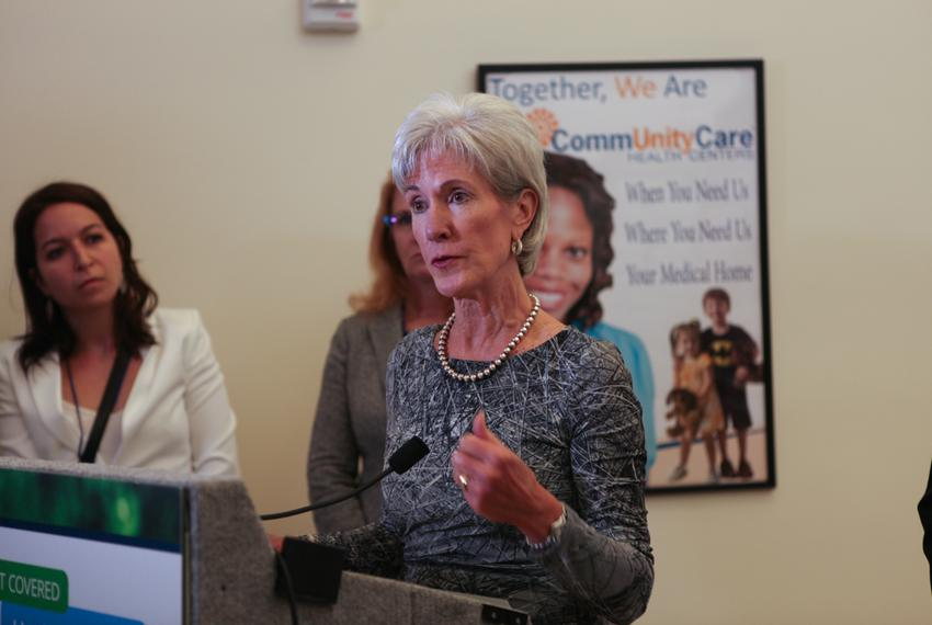 U.S. Department of Health and Human Services Secretary Kathleen Sebelius answering questions about the health care marketpla…