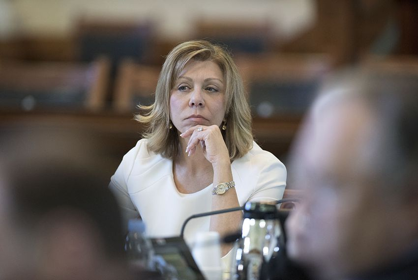 Sen. Joan Huffman, chair of the Senate Committee on State Affairs, listens to testimony on the affirmation of First Amendment liberty protections in Texas from invited witnesses on Feb. 17, 2016.