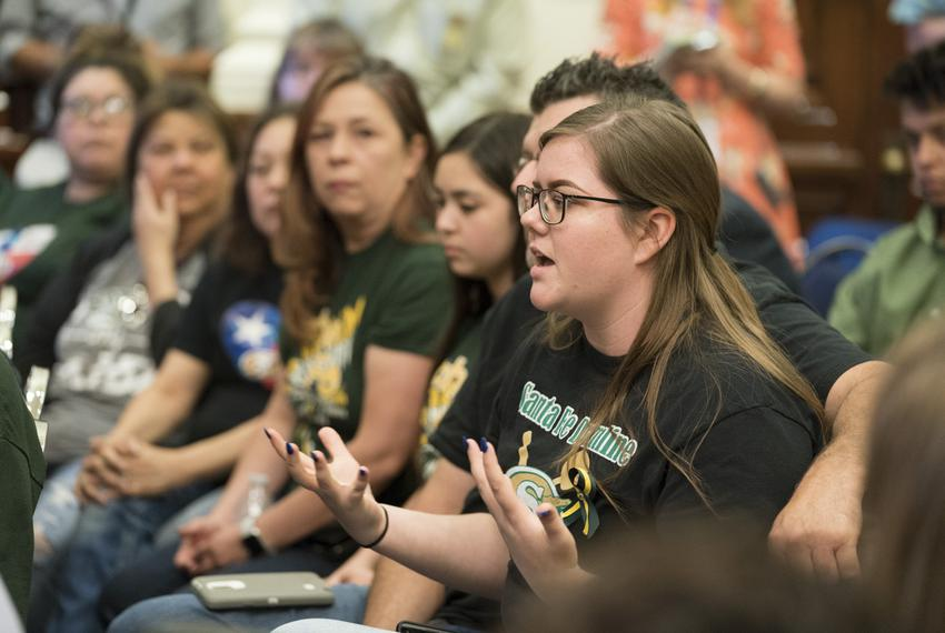 Santa Fe High School student Grace Johnson speaks during the third day of roundtable discussions on gun and school safety, h…