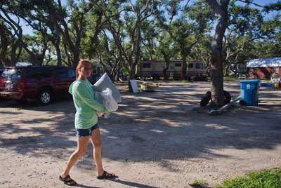 Samantha McCrary opened up her land in Rockport as a refugee Camp of sorts after Harvey hit the area. At its peak, more than 100 people lived on her land in tents and RVs; family members and volunteers helped McCrary provide up to 1,500 meals a day free of charge.