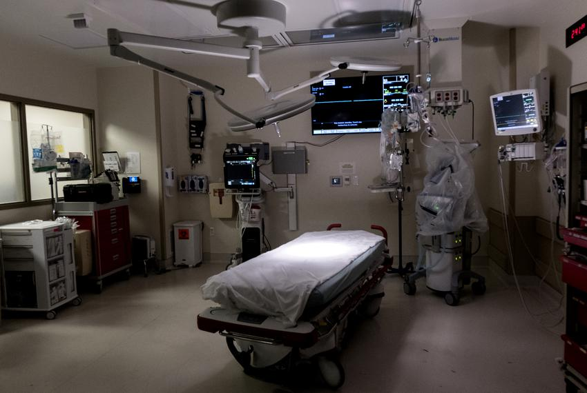 A trauma crash room at the Dell Seton Medical Center at the University of Texas. The driver responsibility program funds mos…
