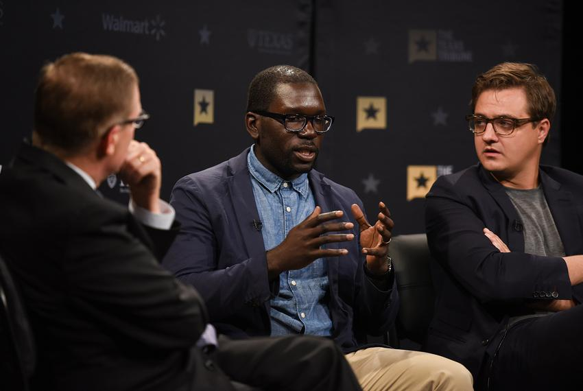 Texas Tribune CEO Evan Smith (left) hosts a community forum on race and justice, featuring Jamelle Bouie (center) andChri...