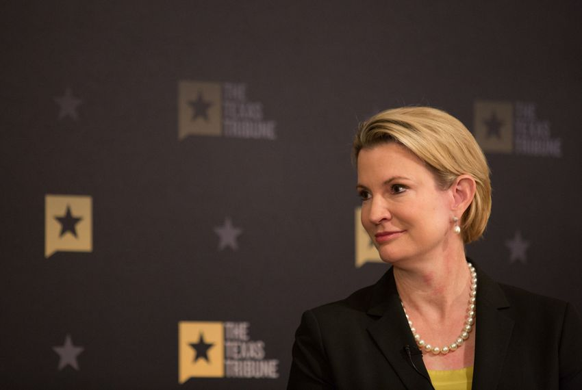 """Texas Tribune CEO Evan Smith moderated """"A Conversation with Dawn Buckingham"""" on April 21, 2016."""