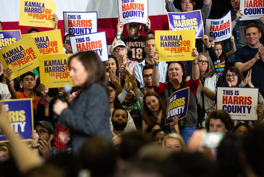 The crowd cheers for Democratic 2020 presidential candidate and Sen. Kamala Harris at a campaign event at Texas Southern U...