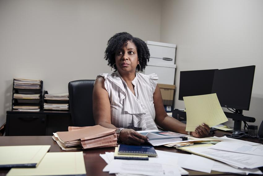 Kimberly Clark-Washington, a mental health clinician, working at the Harris County public defender's office in Houston.