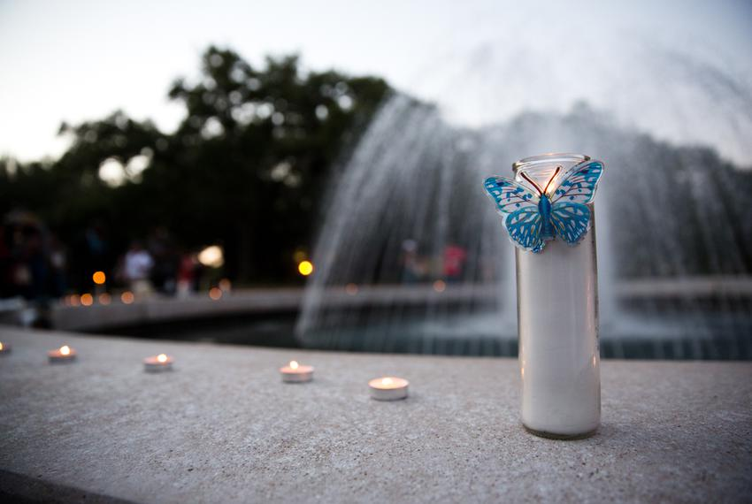 Attendees placed candles around the central fountain at Prairie View A&M University, where alumna Sandra Bland had recently …