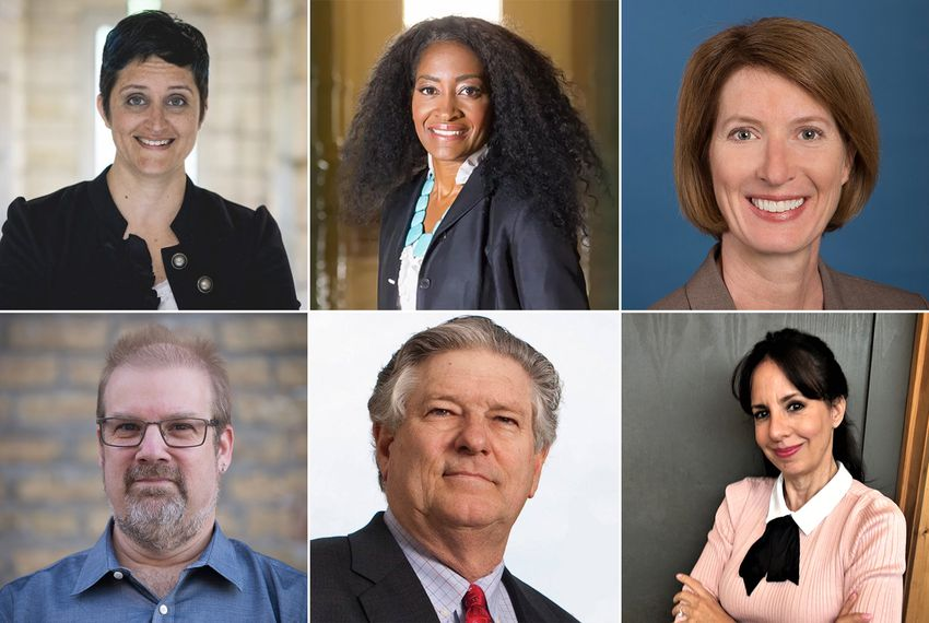 Five Democrats are vying for state House District 47, currently held by state Rep. Paul Workman, R-Austin. Top row: Candace Aylor, Elaina Fowler and Vikki Goodwin. Bottom row: Will Simpson, Republican incumbent Paul Workman and Sheri Soltes.