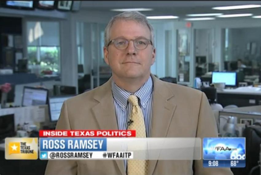 "Texas Tribune Executive Editor Ross Ramsey on WFAA-TV's ""Inside Texas Politics"" on April 13, 2014."