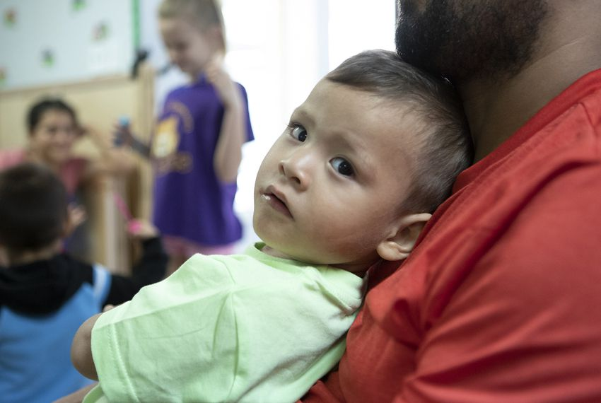 Immigrant families released by U.S. Immigration and Customs Enforcement (ICE) take respite at Catholic Charities in McAllen while waiting on disposition of their deportation cases.