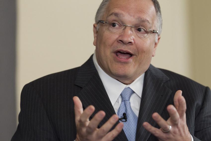 Sen. John Carona, R-Dallas, makes a point during his appearance at TribLive on May 24, 2012.