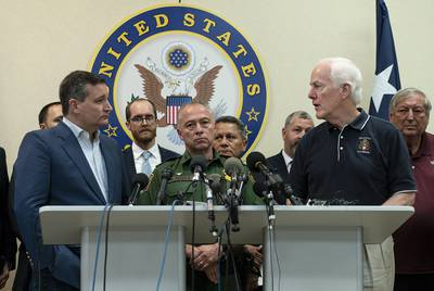 U.S. Sens. Ted Cruz and John Cornyn hold a press conference at the Border Patrol station in Weslaco on Friday, June 22, 2018. They were joined by Rio Grande Valley Sector Chief Manuel Padilla (center) and local mayors.