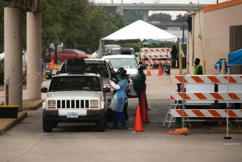 The St. Johns drive-through COVID-19 testing site off of Interstate 35 in north Austin on Aug. 5, 2021.