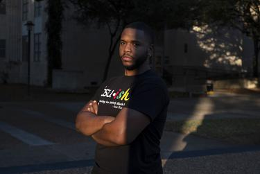 Brian Kirksey, vice president of the black student union at the University of Houston, poses for a portrait on campus on Jan. 14, 2021, in Houston.