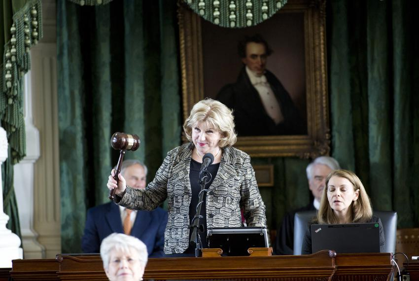 On the Senate side, state Sen. Jane Nelson, R-Flower Mound, gavels in. That duty would ordinarily fall to Lt. Gov. Dan Patri…