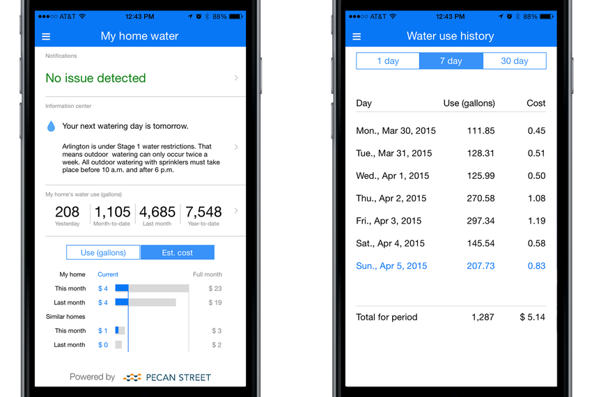 Screenshots of the University Municipal Water Consortium's smart phone app.
