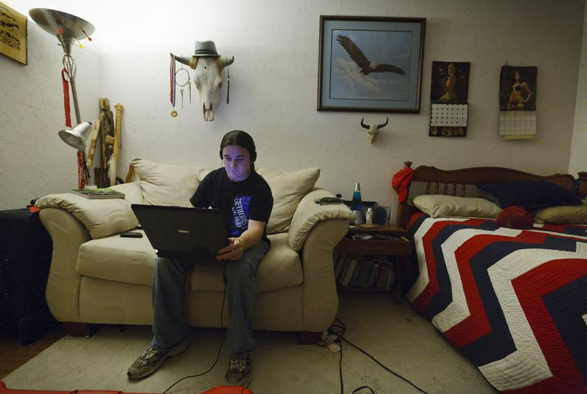 Eagle Scout and high school graduate Will Clarkston, 20, logged in to The Bridge School from his bedroom in Houston on Tuesd…