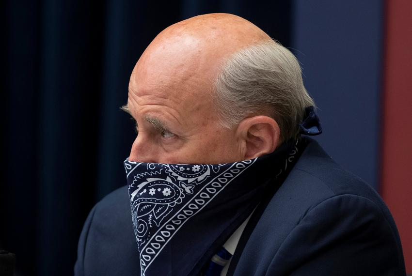 U.S. Rep. Louie Gohmert, R-Texas, uses a face covering during a U.S. House Natural Resources Committee hearing in Washington…