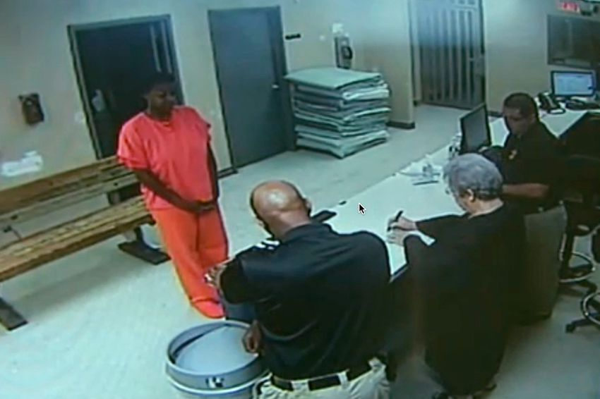 Waller County Jail booking video showing Sandra Bland appearing before Justice of the Peace Delores Hargrave.
