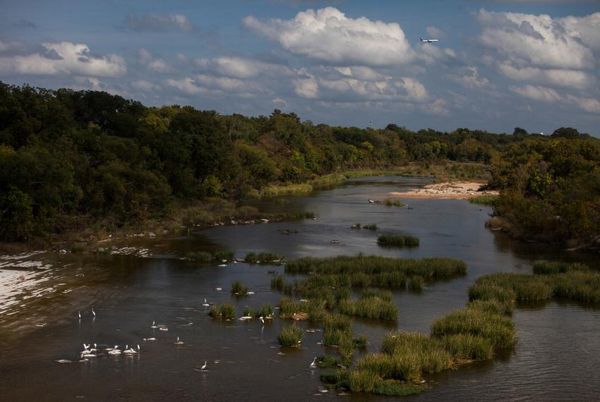 The Colorado River east of Longhorn Dam, where it flows freely towards the Gulf of Mexico, in Austin, Tx.
