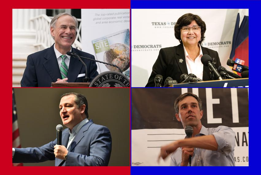 Top: Gov. Greg Abbott and Lupe Valdez, his Democratic challenger; bottom: U.S. Sen. Ted Cruz and U.S. Rep. Beto O'Rourke, hi…