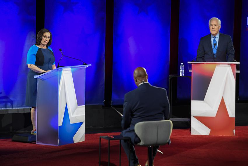 Republican U.S. Sen. John Cornyn, R-Texas, and challenger MJ Hegar face off in a Nexstar televised debate on Oct. 9, 2020, a…