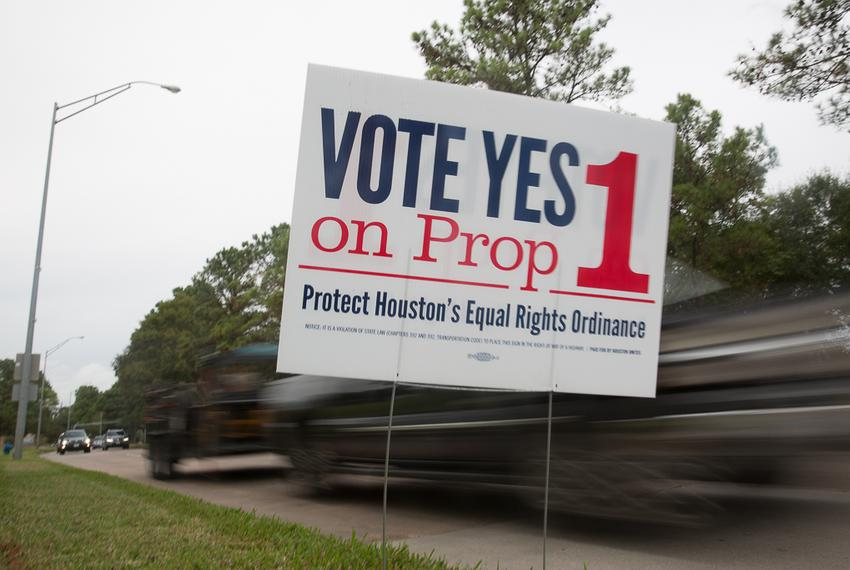 Prop 1 signs posted at the along the Adaptive Sports and Recreation facility on West Grey in Houston, TX for the November 20…