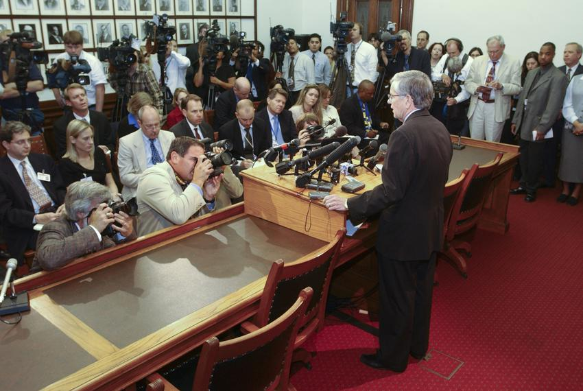House Speaker Tom Craddick holds a press conference during the Texas House Democratic walkout from May 12-13, 2003, at the 7…