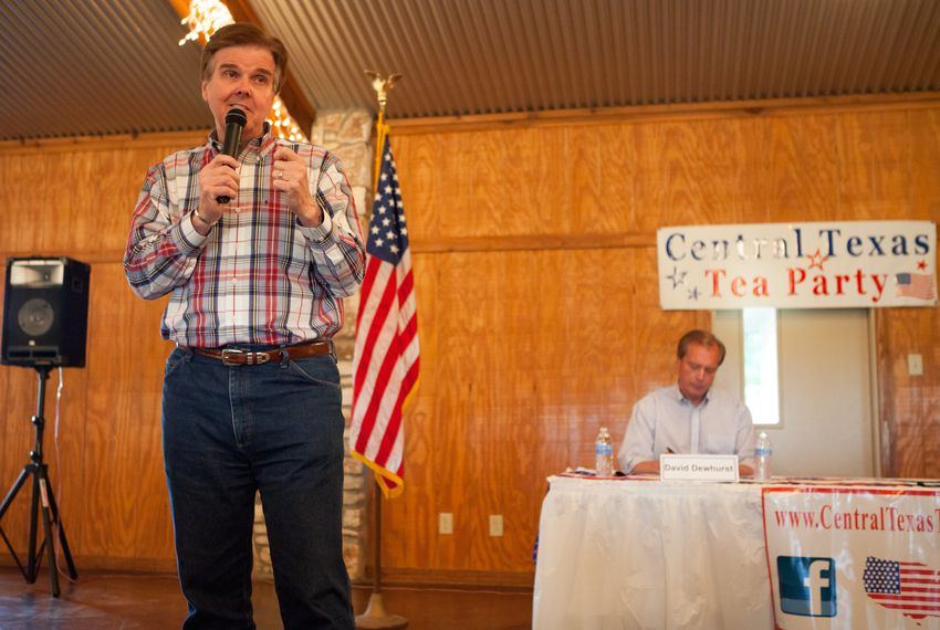 State Sen. Dan Patrick and Lt. Gov. David Dewhurst and debated in Salado, Tx on May 20, 2014, ahead of the Republican primary runoff for lieutenant governor.