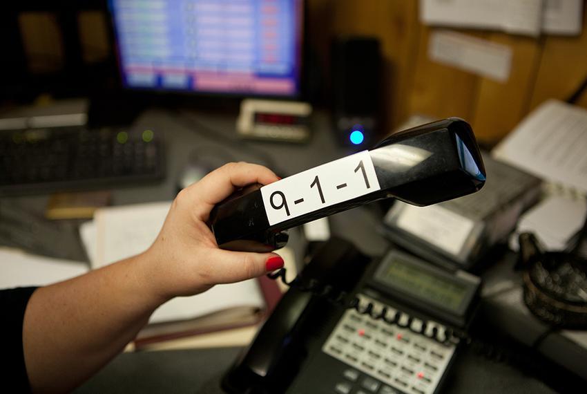 One of two 911 dispatch phones in the Rockdale Police Department in Rockdale, TX.