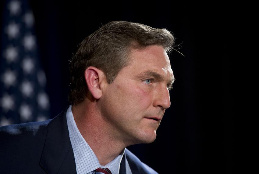 Former ESPN commentator and football player Craig James pauses during the U.S. Senate candidates debate sponsored by TPPF in…