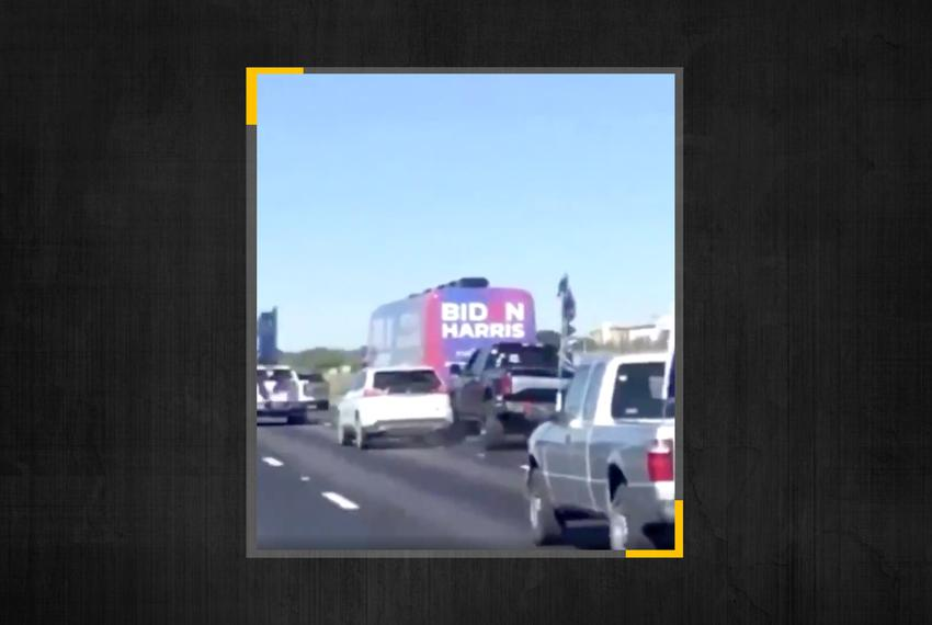 A Twitter user captured the moment a truck and a vehicle collided as the Biden-Harris bus tour was being followed by a carav…