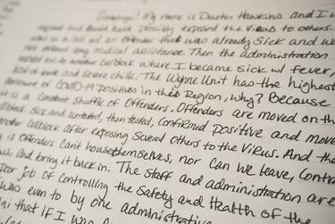A letter from a Wynne Unit inmate from May 2020 describing conditions inside the lockup during the coronavirus pandemic.