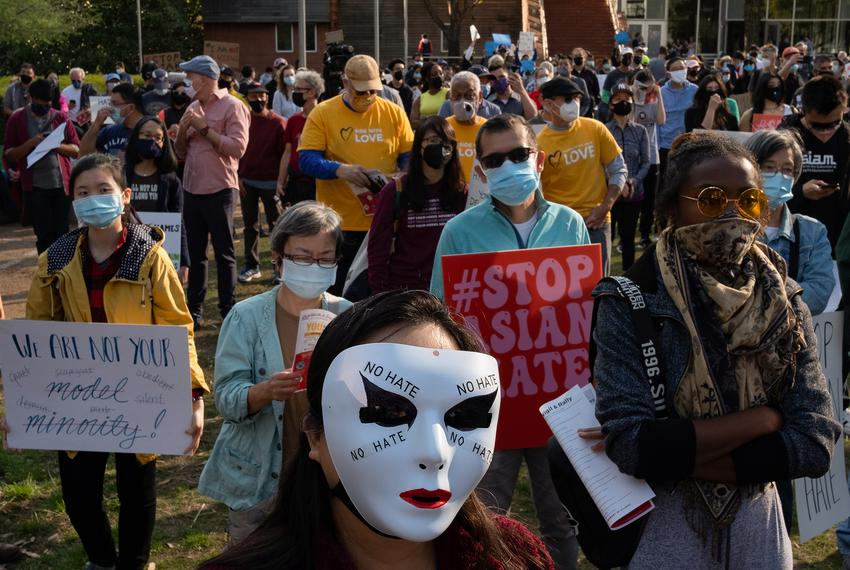 Janet Blancett, center, at Discovery Green on March 20, 2021, in Houston. People gathered for the Stop Asian Hate Vigil and …