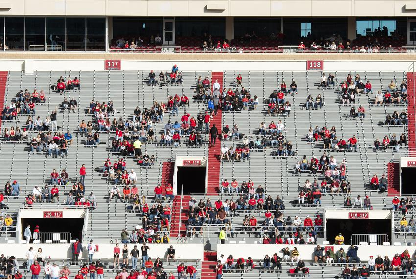 Fans in Jones AT&T Stadium watch Texas Tech's home coming game against West Virginia on Saturday in Lubbock. Texas Tech Athl…