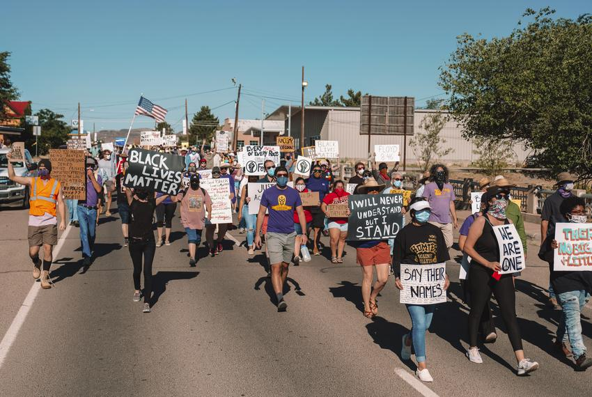 Hundreds of residents from Alpine and the surrounding towns marched against the death of George Floyd on in Alpine on June 6…