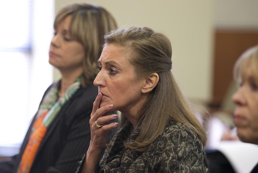 University of Texas Regent Brenda Pejovich ponders a question at the Select Committee on Transparency in State Operations ...