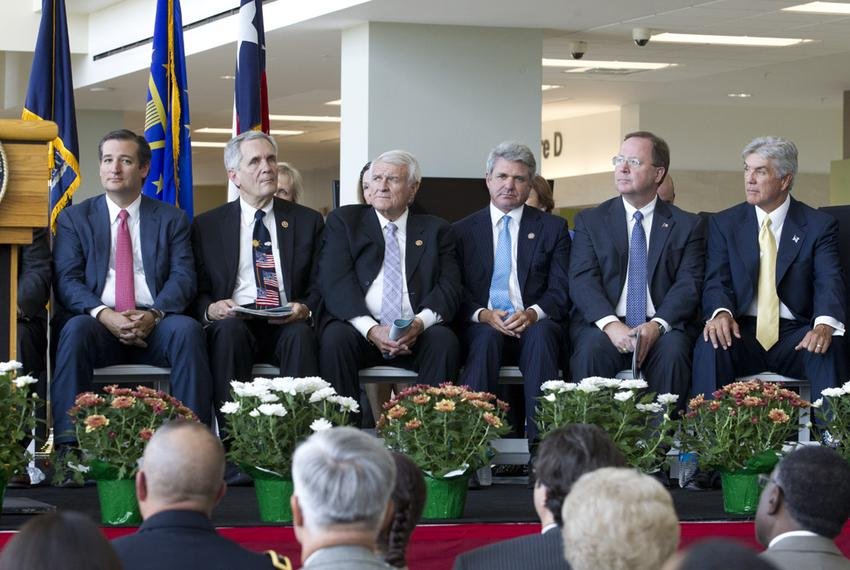 Some of Texas' U.S. Congressional delegation at the opening of Austin's VA clinic on August 22, 2013 include, l to r, Sen. T…