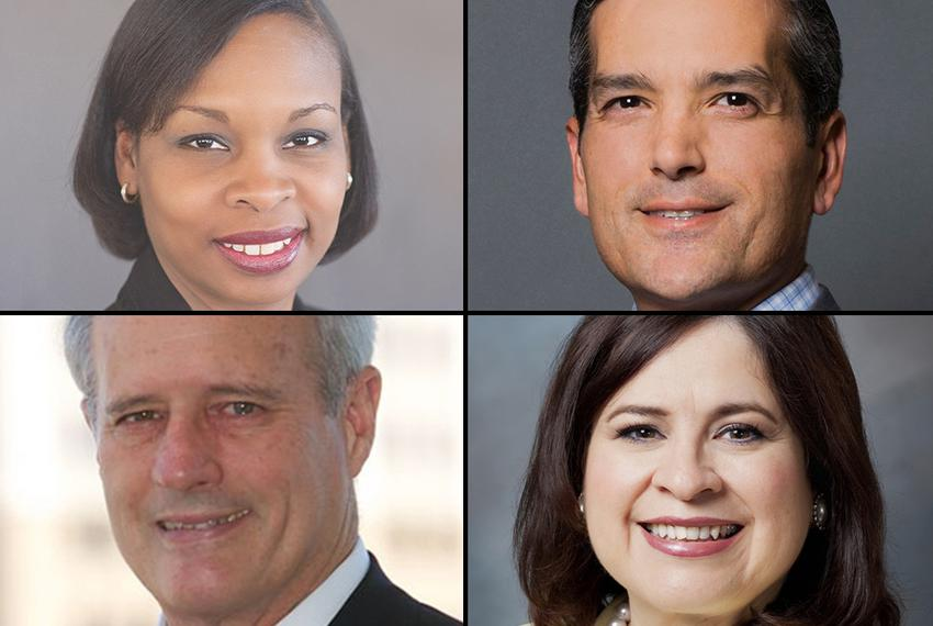 The four leading contenders for San Antonio mayor (clockwise from upper left): Ivy Taylor, Mike Villarreal, Leticia Van de P…