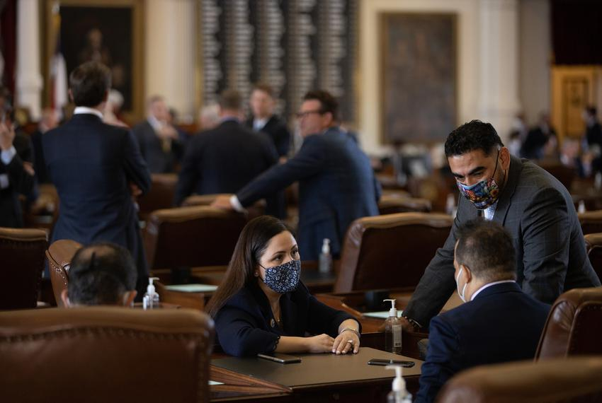 From left: Houston democratic state Reps. Ana Hernandez, Garnet Coleman, and Armando Lucio Walle on the House floor on Aug. …