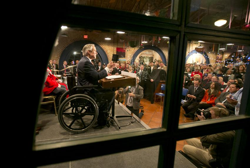 Greg Abbott gives his primary acceptance speech in San Antonio.