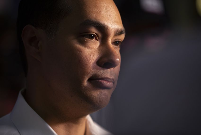 Presidential candidate Julián Castro speaks at a press conference following a rally in San Antonio after an earlier visit by President Donald Trump, on April 10, 2019.