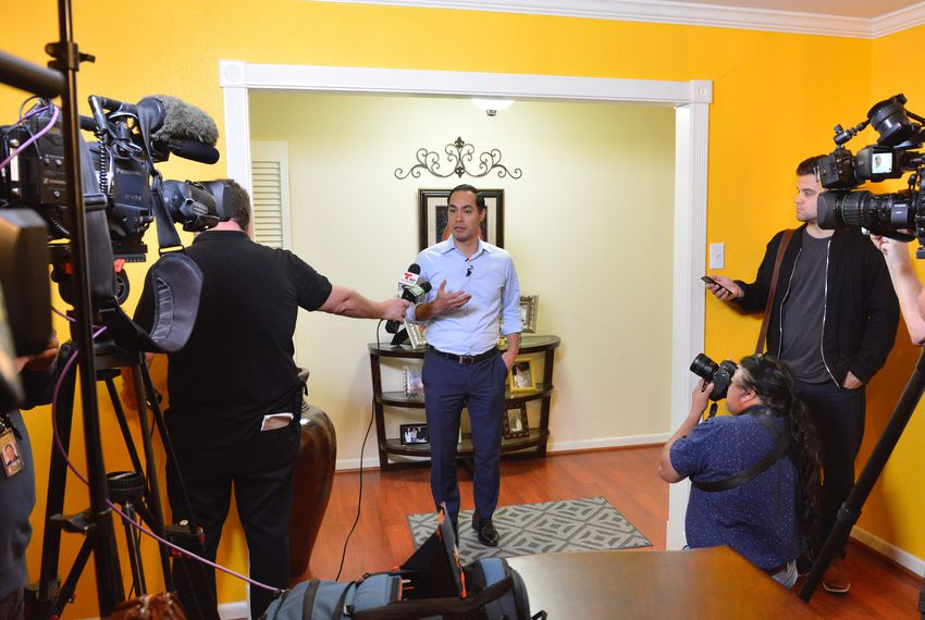 Former Housing Secretary and San Antonio Mayor Julián Castro talks to reporters about his potential 2020 run for president Wednesday in San Antonio.