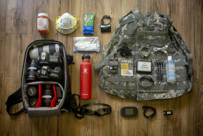 Personal protective equipment that photojournalist Miguel Gutierrez Jr. has used to cover protests, COVID-19 pandemic and va…