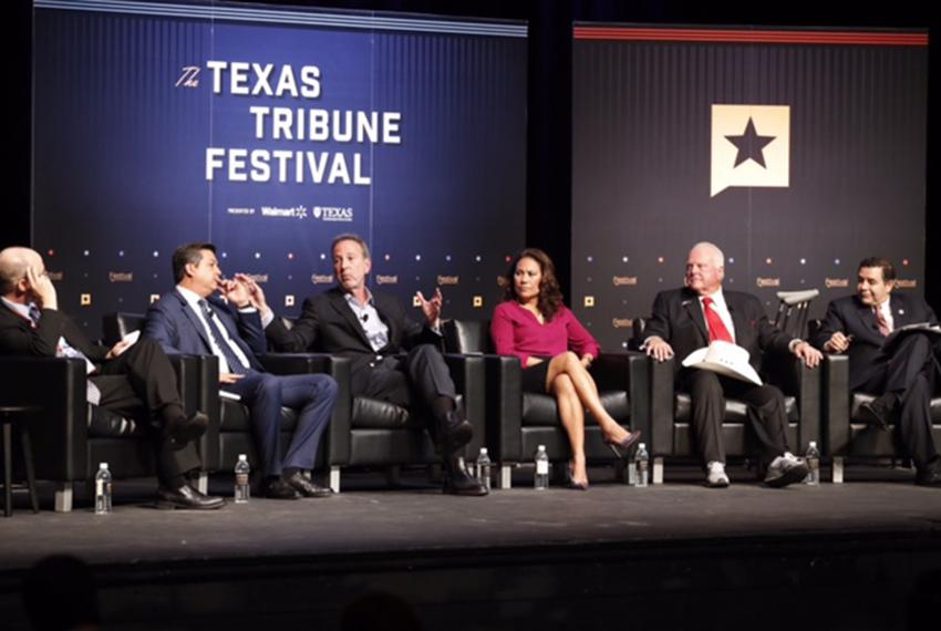 "Tribune reporter Jay Root moderates the ""Trump and Mexico"" panel at The Texas Tribune Festival on Sept. 23, 2017. Left to ..."